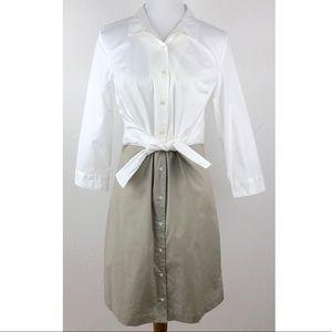Tahari White & Khaki Button Down Shirt Dress 8
